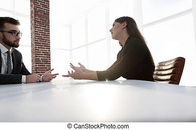 ao redor, pessoas escritório, negócio moderno, tabela, reunião, tendo