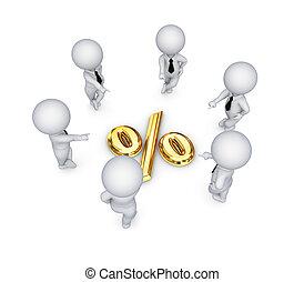 ao redor, pessoas, símbolo., pequeno, cento, 3d