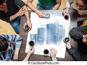 ao redor, pessoas sentando, despesas gerais, tabela, vista