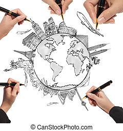 ao redor, viagem, whiteboard, mundo, sonho, desenho