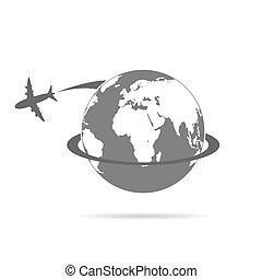 ao redor, voando, ilustração, vetorial, avião, globe.