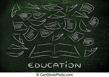 ao redor, voando, livro, tecla, Educação, Páginas