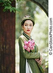 ao, vietnamita, dai, vestido, mujer