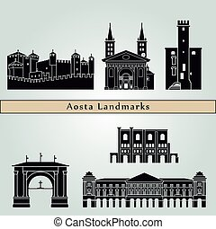 Aosta landmarks and monuments isolated on blue background in...