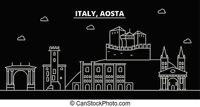 Aosta silhouette skyline. Italy - Aosta vector city, italian...