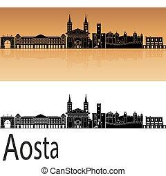 Aosta skyline in orange background in editable vector file