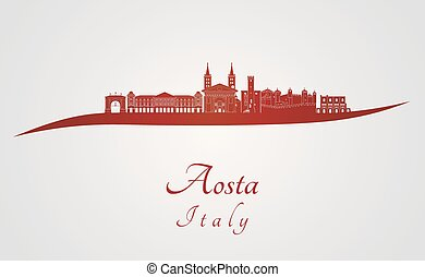 Aosta skyline in red and gray background in editable vector...