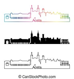 Aosta skyline linear style with rainbow in editable vector...