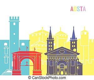 Aosta skyline pop in editable vector file