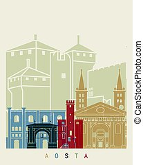 Aosta skyline poster in editable vector file