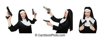 apáca, fehér, kézifegyver, elszigetelt
