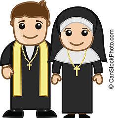 apáca, lelkész, karikatúra, vektor