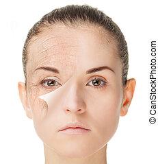 após, conceito, rejuvenation, tratamento, pele, antes de,...