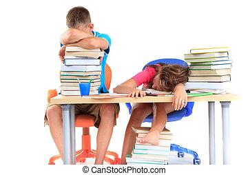 após, estudar, estudantes, cansadas