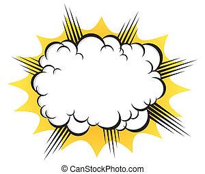 após, explosão, nuvem