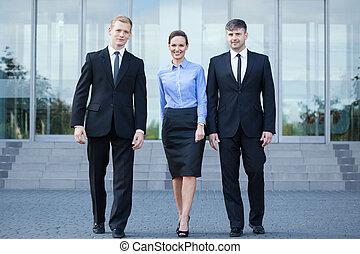 após, reunião, pessoas negócio