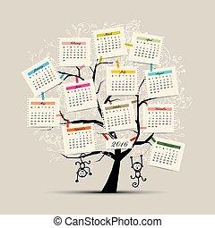 apa, symbol, träd, design, år, kalender, 2016