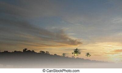 apache, hélicoptères