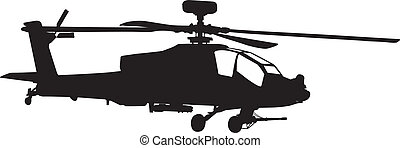Apache helicopter - Vector silhouette of AH-64 Apache ...