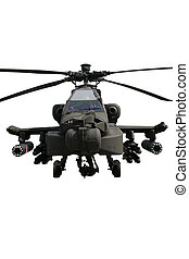 Fully armed army AH-64 Apache attack helicopter isolated on white