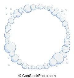 apacible, marco, con, azul, bubbles., mar, subject.