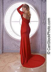 apaixonado, menina, em, vestido vermelho, com, abertos, costas, pela janela