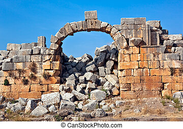 Apamea stone ruins Syria - Historic remains of the old...