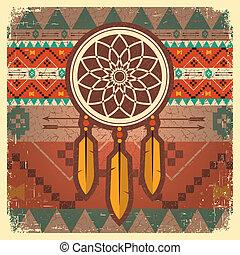 apanhador, cartaz, ornamento, vetorial, étnico, sonho