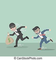 apanhar, ladrão, homem negócio