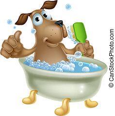 aparência, banho, cão, caricatura