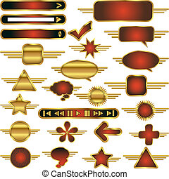 aparar, teia, elementos, ouro, metal, cobrança, vetorial, desenho