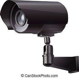 aparat fotograficzny, bok, obejrzany, inwigilacja