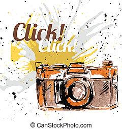 aparat fotograficzny, grunge, atrament
