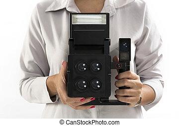 aparat fotograficzny rocznika, chwila, dzierżawa ręka