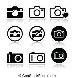 aparat fotograficzny, wektor, komplet, ikony
