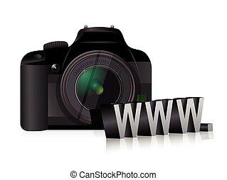 aparat fotograficzny, www, pojęcie, online, internet