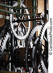 aparato de relojería, torre, viejo, reloj