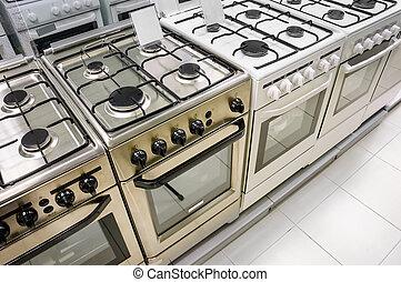 aparato, estufas del gas, hogar, tienda, fila