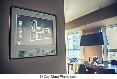 aparato, luz, panel, mandón, hogar