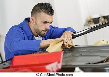 aparato, técnico, en el trabajo