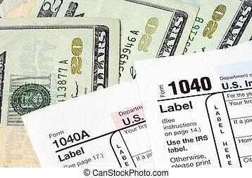 aparejar, dinero, impuesto sobre la renta, regresos, paga