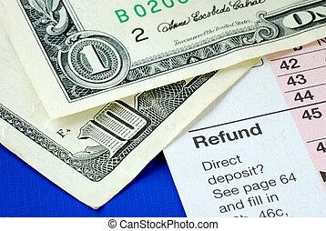 aparejar, dinero, para pagar, impuesto