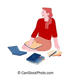 aparejar, learning., homework., carácter, plano, estudiante,...