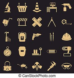 aparejo, conjunto, estilo, iconos simples