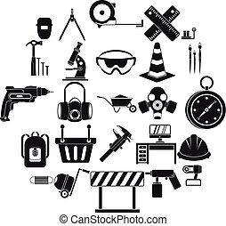 aparejo, iconos, conjunto, simple, estilo