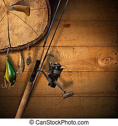aparejo, pesca, plano de fondo
