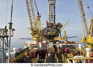aparejo, plataforma, aceite