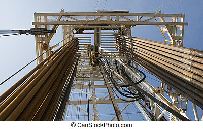 aparejo, tubos, aceite, torre