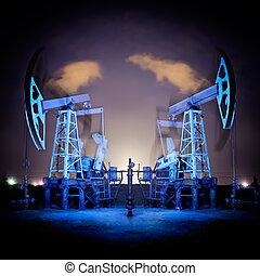 aparejos de aceite, en, night.
