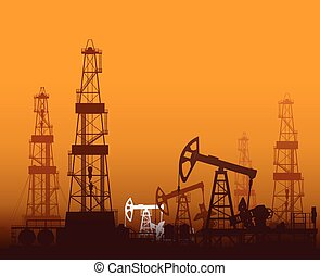aparejos, petróleo bombea, perforación, ocaso